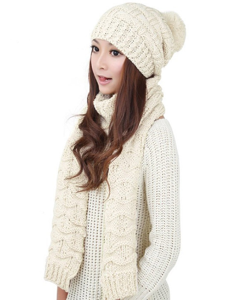 TCCSTAR Women Girls Knitted Hat Scarf Set Fashion Winter Warm Hat With Attached Scarf … (Cream White)