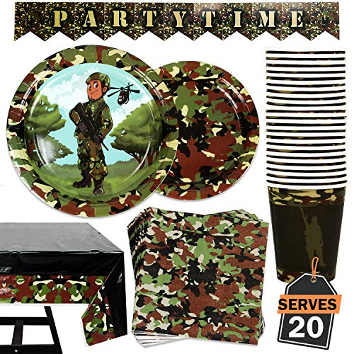 82 Piece Army/Camo Party Plate Set Including Banner, Plates, Cups, Napkins, and Tablecloth, Serves 20