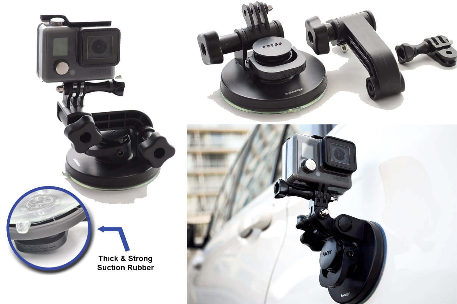 Suction Cup for Gopro Mount Car Windshield Window Vehicle Boat Camera Holder for Gopro Suction Cup Mount gopro Windshield Mount Hero2 Hero3 Hero3+ Hero4 Hero5 Hero6 Black Session HD by SublimeWare by SublimeWare