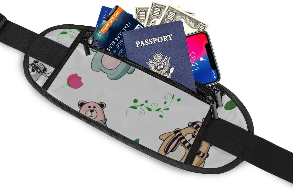 Travel Waist Pack,travel Pocket With Adjustable Belt Bear Teddy Polar Bear Forest Leaf Running Lumbar Pack For Travel Outdoor Sports Walking