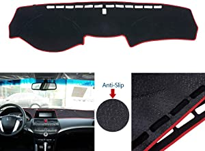 Car Dashboard Cover Double Anti-Skid Dashboard Mat Center Console Protector Cover Mat Sunshield Cover Mat Compatible with Accord 2008-2013, Red Line