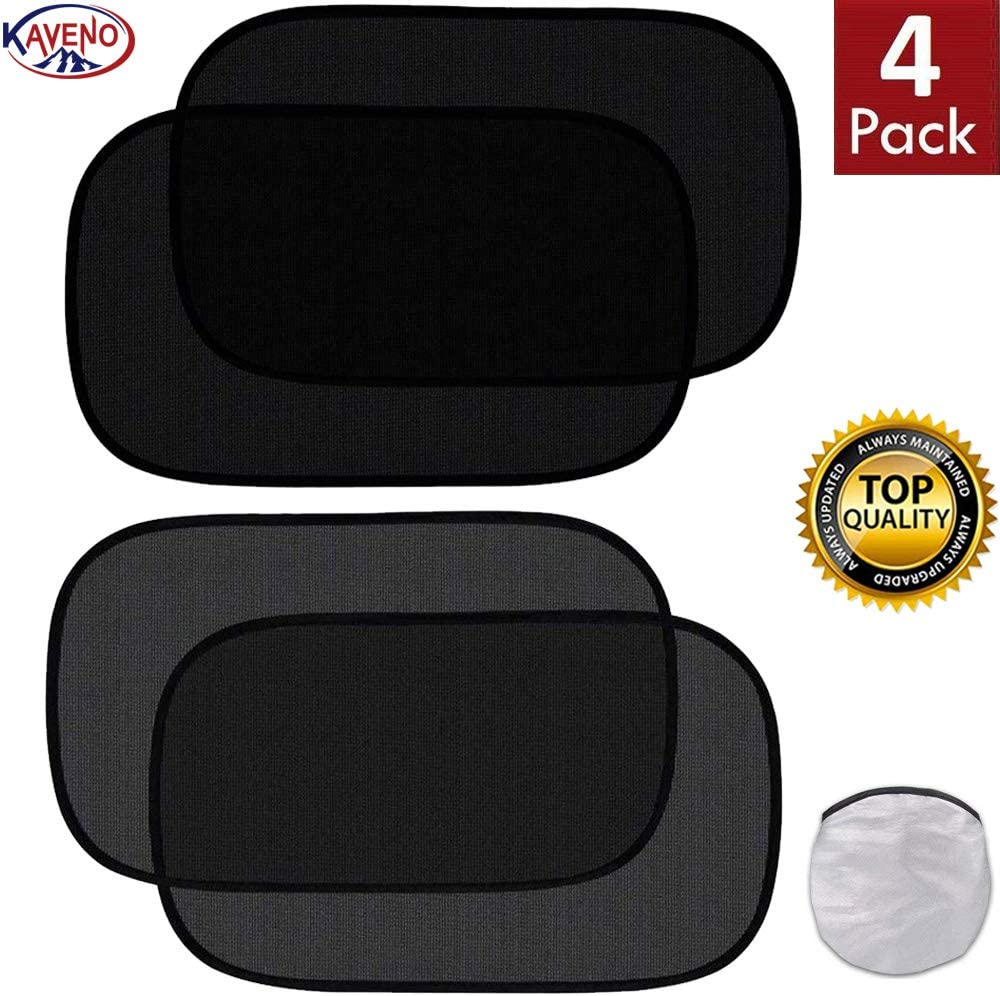 kaveno Car Window Shade Cling Auto Sun Shield 80 GSM Protective Mesh for Blocking UV Ray Adhesive Side with Good Sticking Cooling Protects Your Kids Pets Family Baby (Semi-Transparent & Transparent)