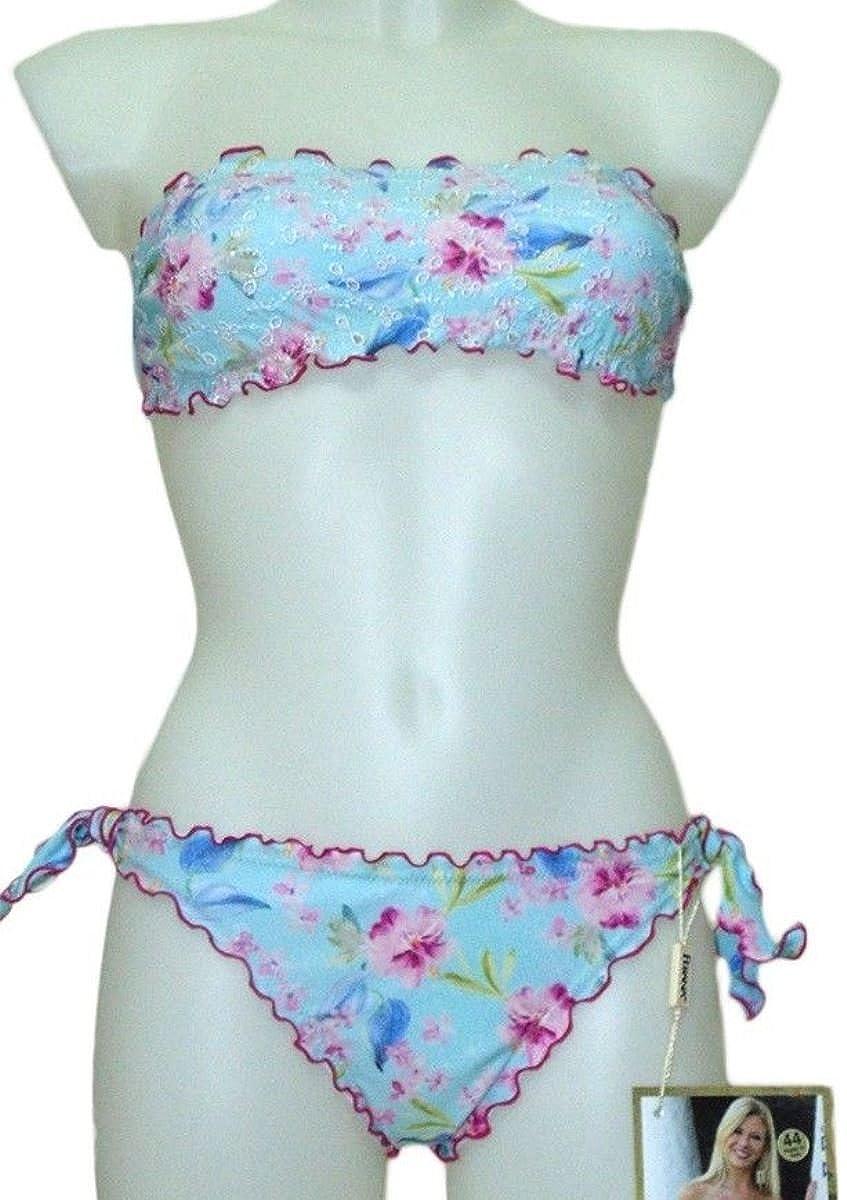 Ferana Costume 2 Pezzi Bikini con Fascia Bandeau Pizzo San Gallo 42)