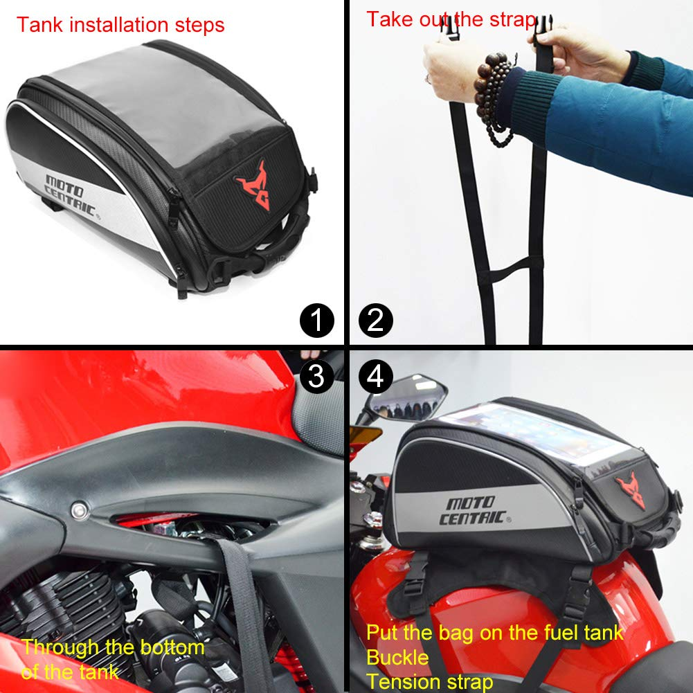 LOVFASHION Magnetic Motorcycle Tank Bag,Waterproof Fuel Tank Bag with Strong Magnetic for Riding Organizer,Oxford Outdoor Sport Bag