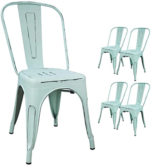 Amazon Com Devoko Metal Indoor Outdoor Chairs Distressed Style Kitchen Dining Chairs Stackable Side Chairs With Back Set Of 4 Blue Home Kitchen