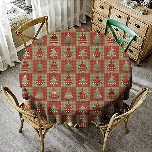 DONEECKL Round Tablecloth Christmas Different Styled Noel Trees on Checkered Squares Background Vintage Quilt Washable Tablecloth D47 Ruby Reseda Green