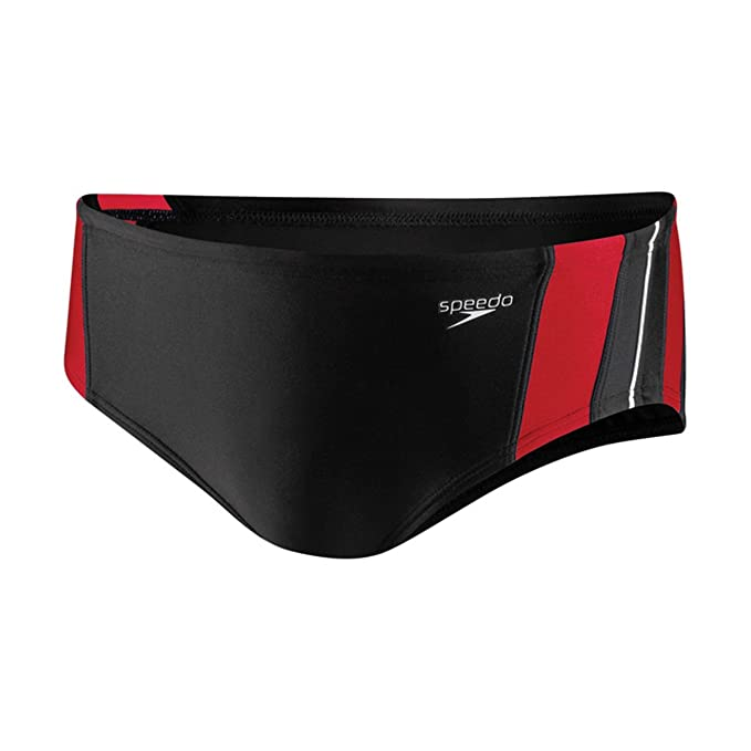 a2dbe01c3de9fb Amazon.com : Speedo 8051203 Mens Rapid Spliced Brief PowerFLEX, Black/Red,  24 : Athletic Swim Briefs : Clothing