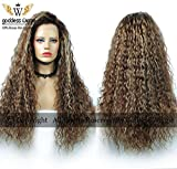 Blayage Human Remy Hair Lace Front Kinky Curly Wigs Blonde Ombre Color Hair (22inch 150%)