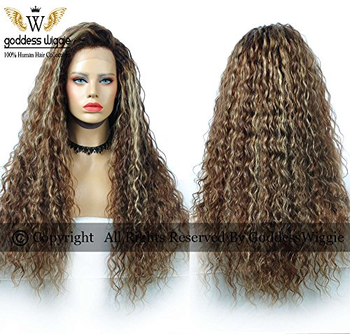 Blayage Human Remy Hair Lace Front Kinky Curly Wigs Blonde Ombre Color Hair (22inch 150%) by Goddess
