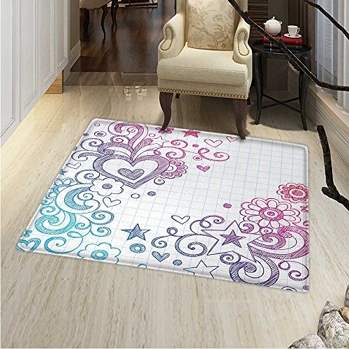 Doodle Area Rug Cheerful Valentine`s Day Themed Swirled Sketch on Checkered Notebook Backdrop Indoor/Outdoor Area Rug 2'x3' Pink Purple Blue