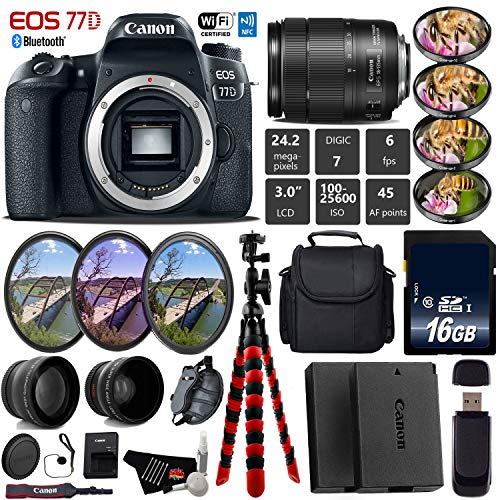 Canon EOS 77D DSLR Camera with 18-135mm is USM Lens + UV FLD CPL Filter Kit + 4 PC Macro Kit + Wide Angle & Telephoto Lens + Camera Case + Tripod + Card Reader - International Version
