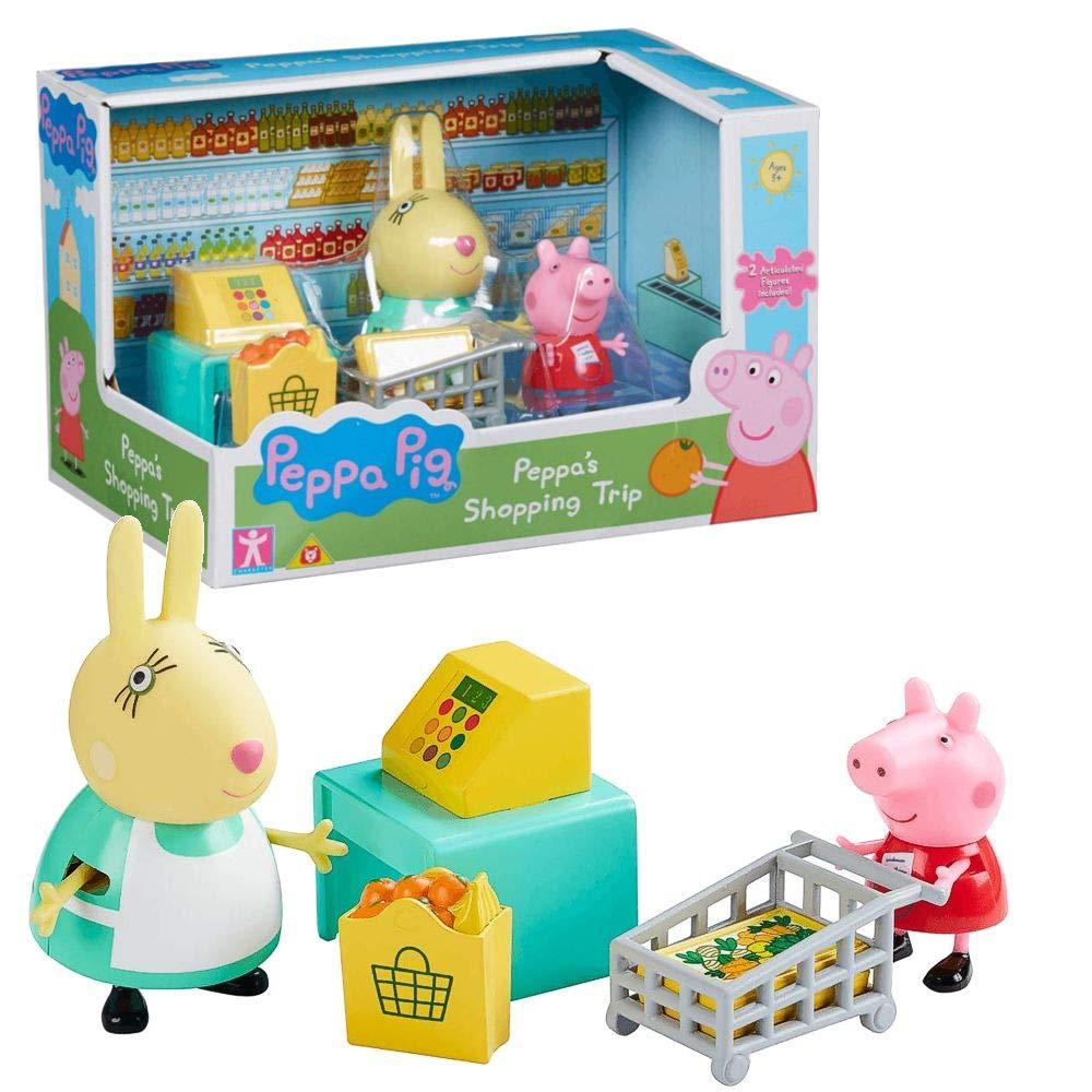 Character World Viaje Compras | Conjunto Juguetes | Peppa Pig | con Figura Peppa & Señora Coneja: Amazon.es: Juguetes y juegos