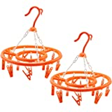 COM de Four® 2x camping Secadora, Tendedero de plástico para colgar Cada Uno Con 13Rótula de grapas, en naranja, diámetro aprox. 27cm