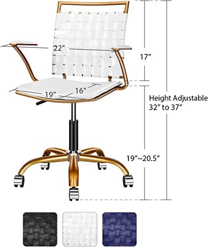 LUXMOD White and Gold Desk Chair, Adjustable Swivel Chair with Golden Armrest, Home Office Chair with Durable Woven Vegan Leather, Ergonomic Desk Chair for Extra Back Lumbar Support – Gold White