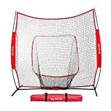 McHom 7′ x 7′ Baseball & Softball Bundle Hitting & Pitching, Practice Net Tee, 3 Weighted Balls, Strike Zone & Carry Bag, Collapsible Portable