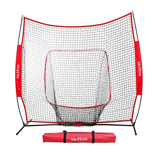 McHom 7' x 7' Baseball & Softball Net for Hitting & Pitching Practice with Bow Frame & Carry Bag, Collapsible and Portable ...