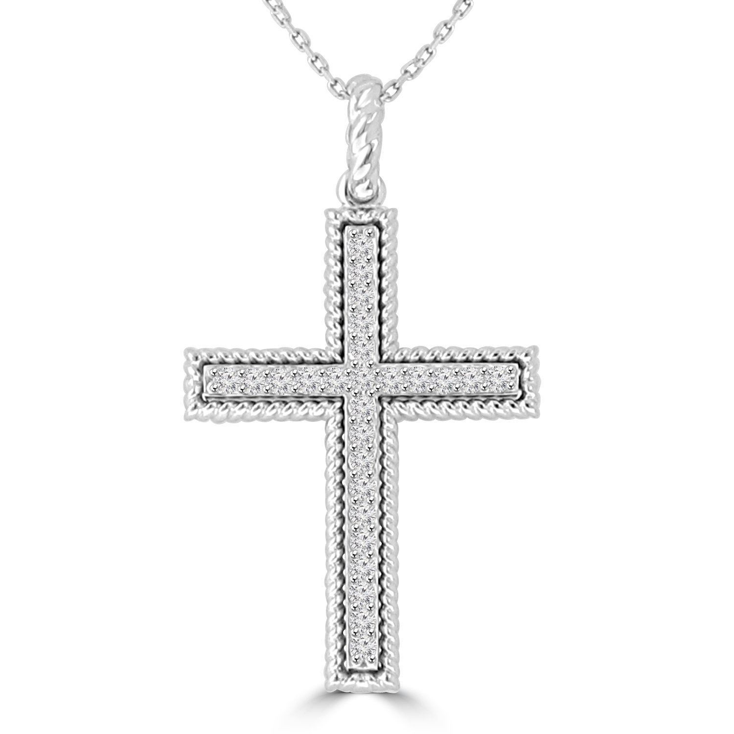 0.45 ct Ladies Round Cut Diamond Cross Pendant Necklace (G Color SI-1 Clarity) in 14 kt White Gold