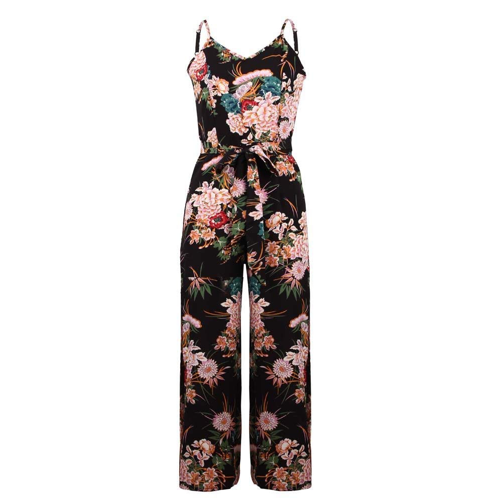 GWshop Ladies Fashion Elegant Jumpsuit Women Jumpsuits Strappy Floral Printed Slit Long Holiday Trouser Playsuits Black S by GWshop (Image #2)