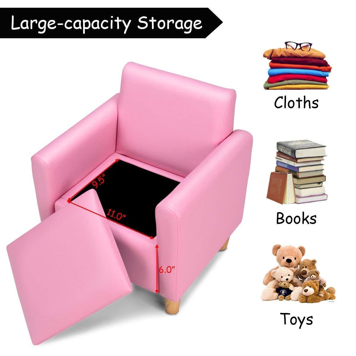 HONEY JOY Kids Sofa, Upholstered Armrest, Sturdy Wood Construction, Toddler Couch with Storage Box (Single Seat, Pink) by HONEY JOY (Image #4)