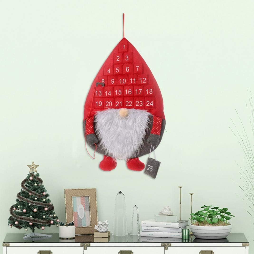 Difcuy Christmas Party,Home,Decoration,Christmas Santa Gnome Calendar Ornament Xmas Countdown Home Door Hanging Decor Grey