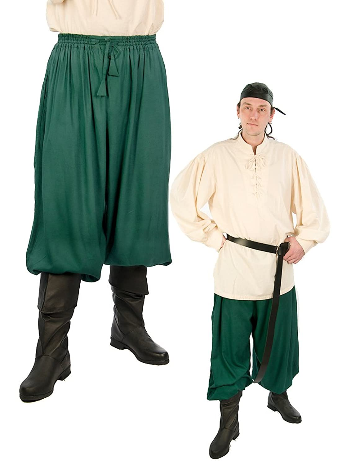 Green Drawstring Waist Button Cuff Pirate Pants