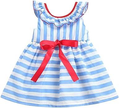 AIni Ropa Bebe NiñA Verano Ropa Recien Nacido Vestido Rayas Bebé Vestido De NiñA MuñEca con