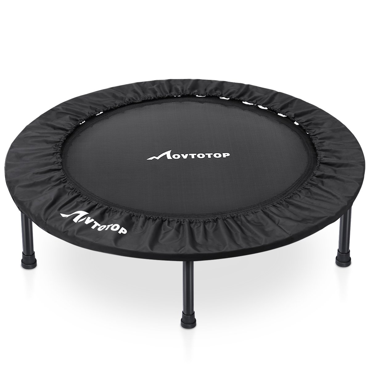 MOVTOTOP Rebounder Trampoline 38 Inch, Folding Indoor Trampolines with Safety Pad, Fun Mini Fitness Trampoline for Kids Adults – Max Load 220lbs, Black