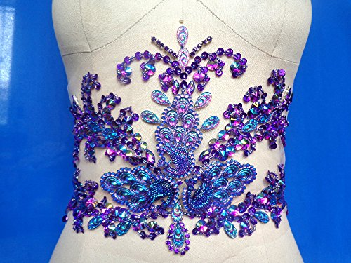 Hand Made purple Crystals Trim Patches Sew on Sequins Beads Rhinestones Applique for Top Dress Skirt Accessory(purple)