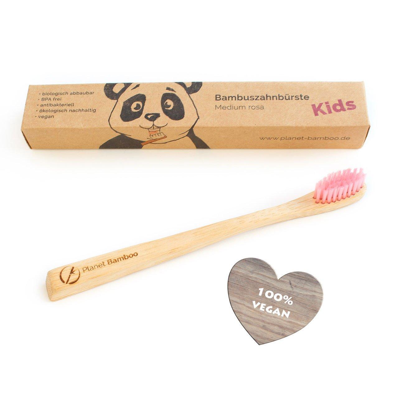 ♻ Planet Bamboo ♻ bambú Cepillos de Dientes para niños (Rosa, Medium de Soft), mango estrecho para manos, encantador Panda del paquete, ...
