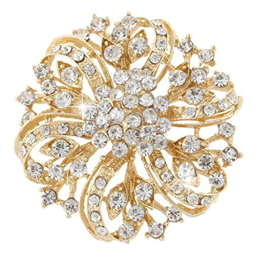 (EVER FAITH Austrian Crystal Vintage Inspired Bridal Flower Brooch Corsage Clear Gold-Tone)
