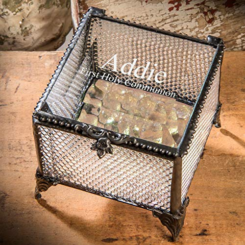 (First Communion Gift Personalized Keepsake Box for Girl Engraved Clear Glass Jewelry J Devlin Box 825 EB218-2 )