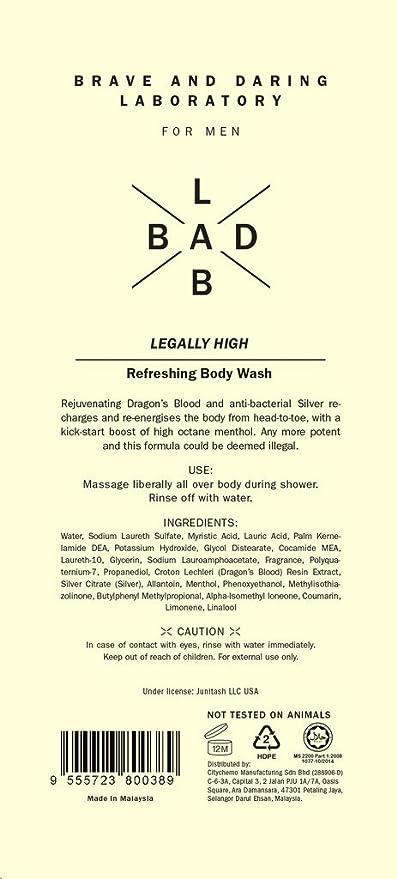 Buy Bad Lab LEGALLY HIGH Refreshing Body Wash for Men, 13 5