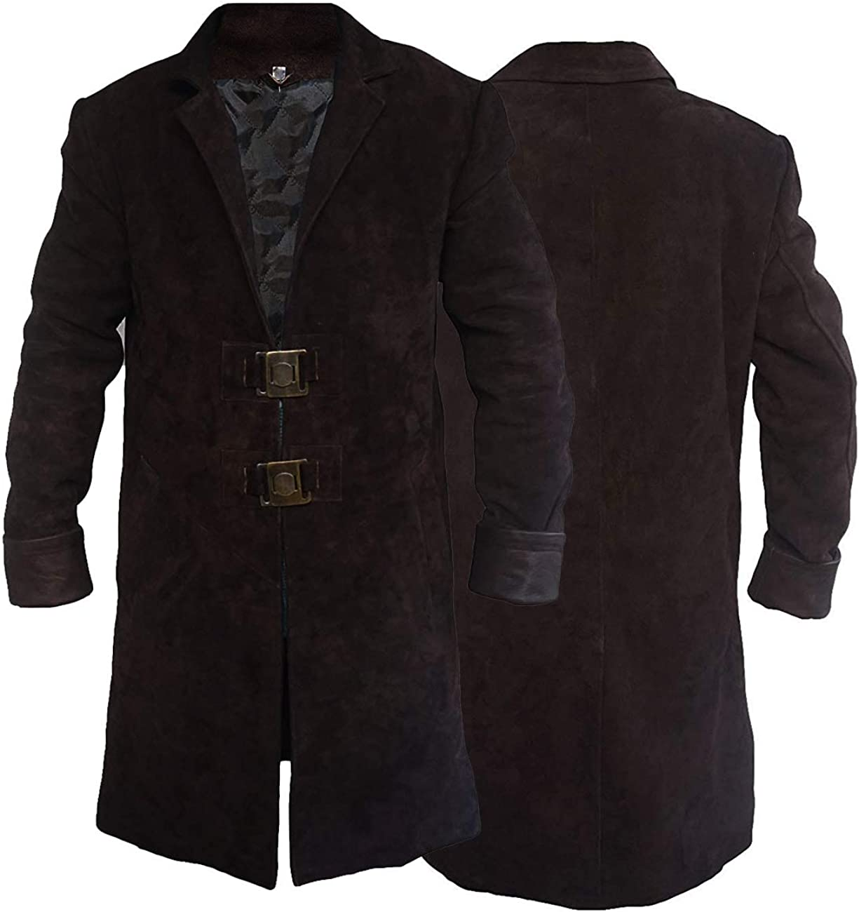 Firefly Captain Malcolm Reynolds celebrity Nathan Fillion Brown Suede Leather Trench Coat For Mens