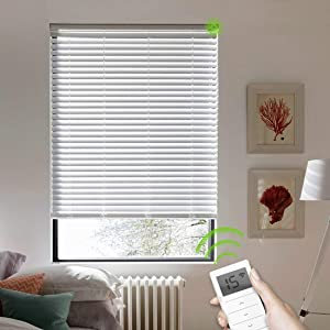 Yoolax Motorized Blinds Custom Size, Cordless Venetian Blind Remote Control, Battery Rechargeable Work with Alexa, Blackout Electric Horizontal Shades for Smart Home Office (Bright White)