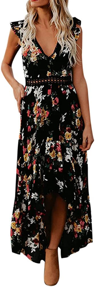 Kiyotoo Womens Summer Deep V-Neck Casual Dress Summer Backless Floral Print//Boho Split Maxi Dress for Beach Party