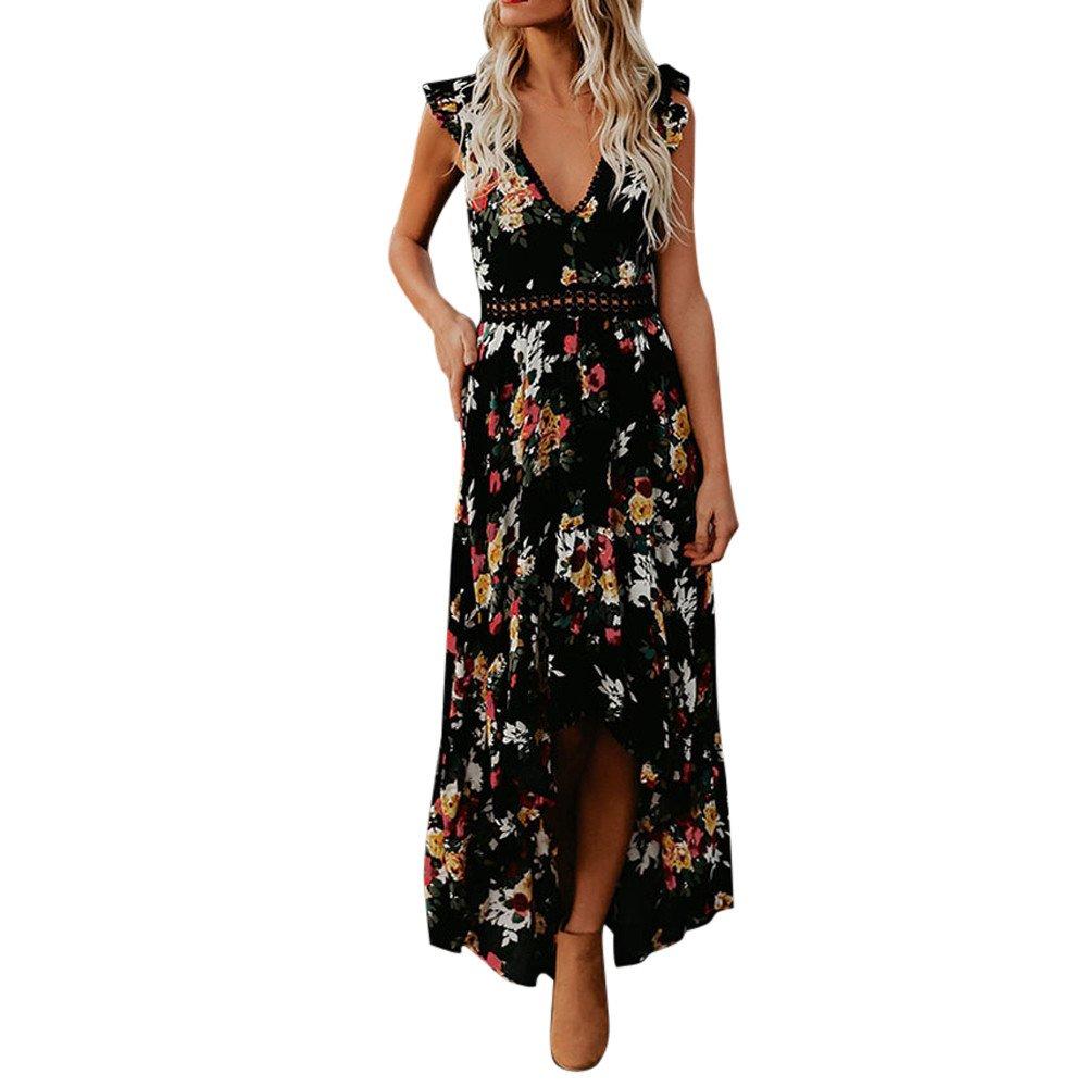 Twinsmall Retro Floral Print Long Maxi Dress, Women's 2019 Casual Short Sleeve Backless Irregular Beach Party Long Dress (M, Black)