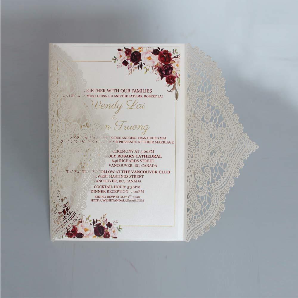 Amazon Com Elegant Lace Wedding Invitations Customized Invitation
