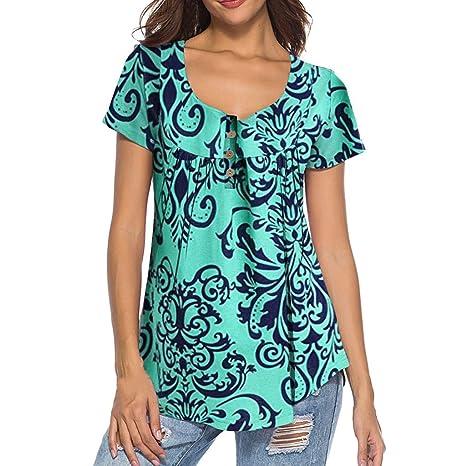 Luckycat Ropa Camisetas Mujer, Camisas Mujer Verano Elegantes Estampado BotóN Tallas Grandes Camisetas Mujer Manga Corta Camiseta Blusas Tops para Mujer ...