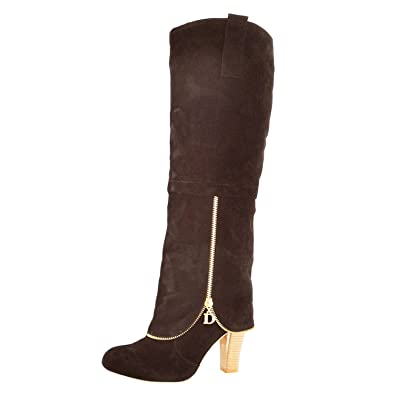 Damen-High-Heel aus Velourslederimitat, knielange Stiefel, grau - grau - Größe: 35.5