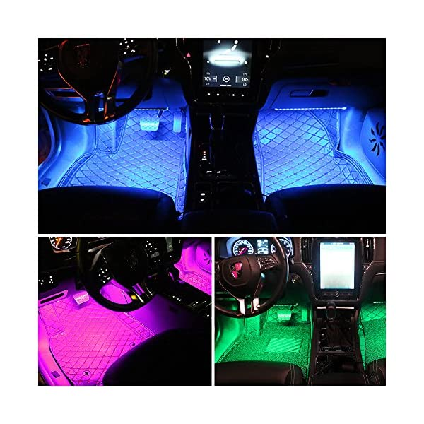 Car LED Strip Light DLAND Multicolor Music Car Interior Lights With 4pcs 48 LEDS Music LED Lighting Kit Underdash Lighting Kit With Sound Active Function And Wireless Remote Control