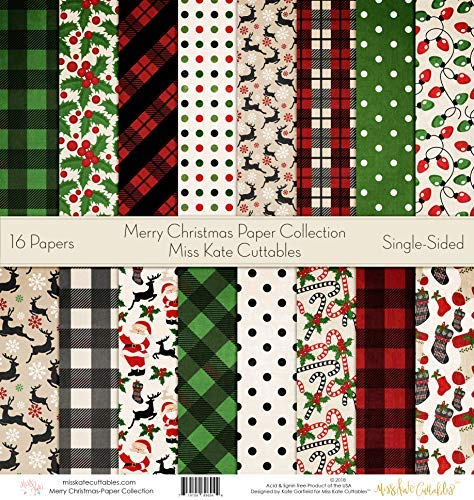 - Pattern Paper Pack - Merry Christmas - Scrapbook Specialty Paper Single-Sided 12