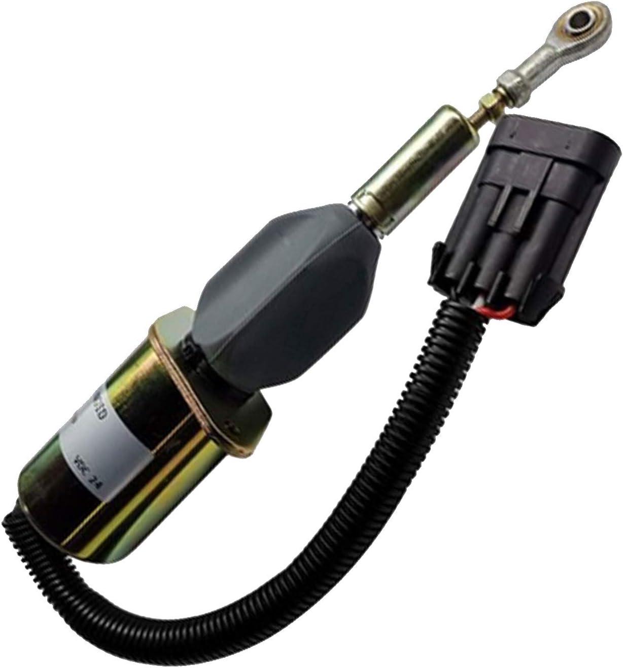 Notonmek 3939019 SA-4889-24 24V Fuel Shutoff Solenoid for Cummins Engine QSL9.3 C/&B 5.9L 8.3L Hyundai Excavator 335LC-7