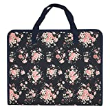 Ozzptuu Floral Printed Canvas A4 Size 13 Pockets Expandable File Folder Accordion Document Organizer with Portable Handle