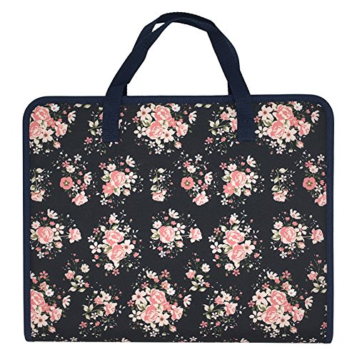 Ozzptuu Floral Printed Canvas A4 Size 13 Pockets Expandable File Folder Accordion Document Organizer with Portable Handle (Pocket Folder Expandable 13)