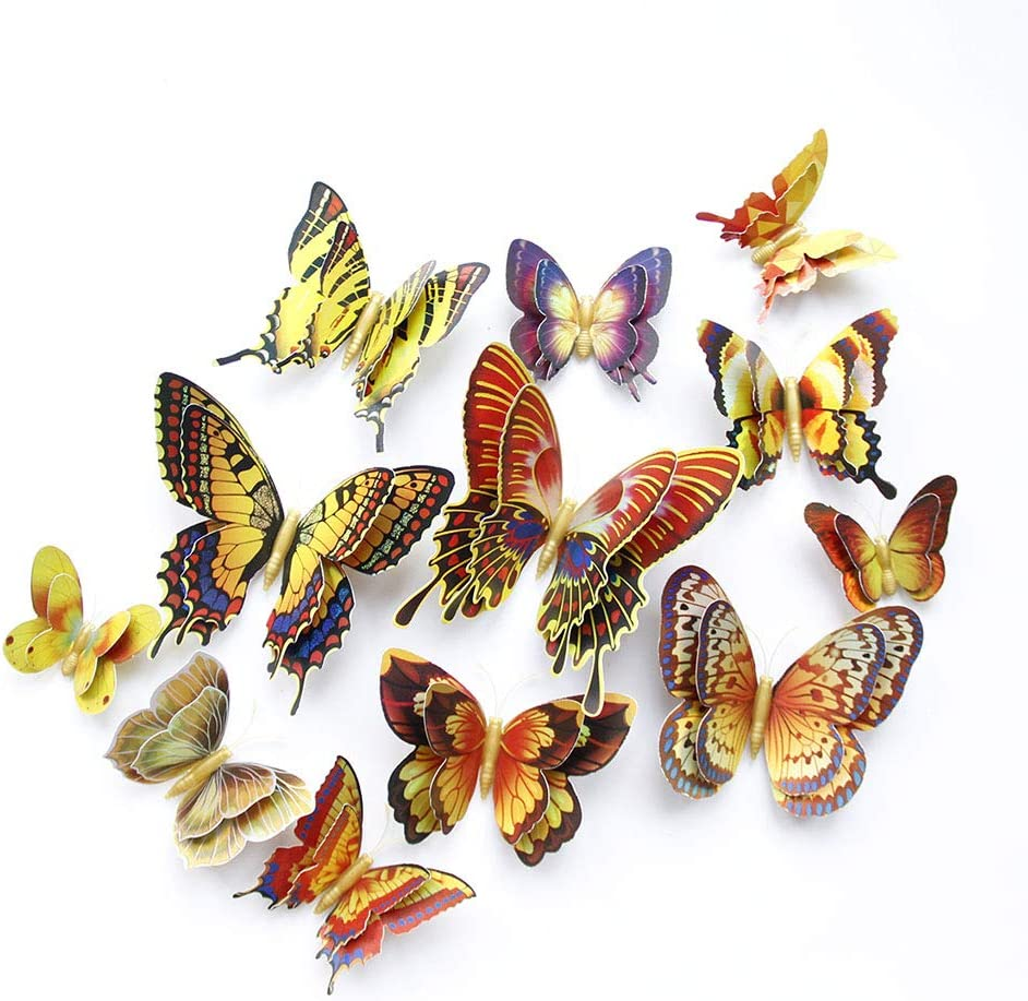 12pcslaser 3D Butterfly Wall Stickers Decor,Butterflies Wall Decals DIY Home Wall Stickers for Wall Decor Home Art Decorations Kids Room Bedroom Decor