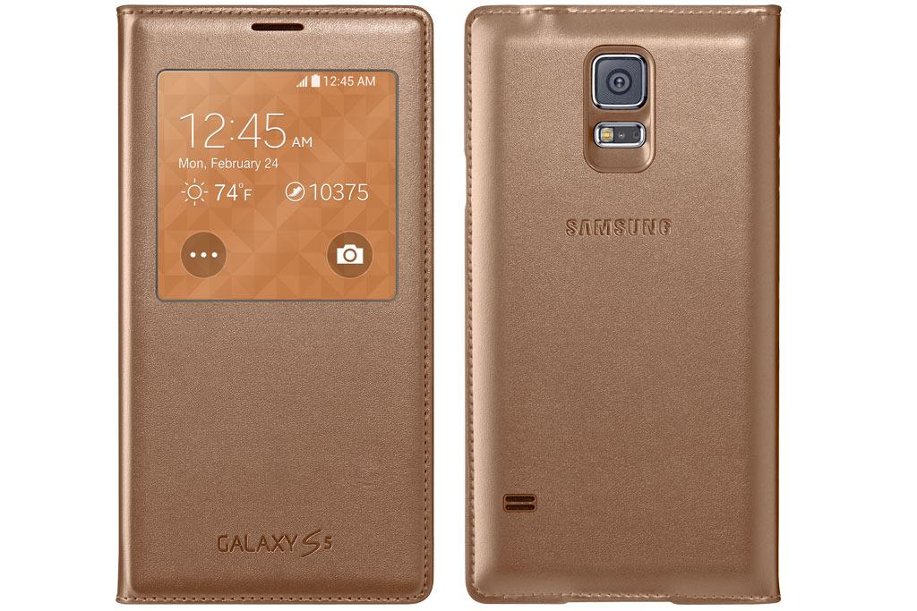 innovative design 78482 50a36 Samsung Galaxy S5 Case S View Flip Cover Folio, Rose Gold