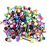 BodyJ4You Lot of 50/100 14G Assorted Colors Mixed Tongue Rings Barbells Body Piercing Nipple Jewelry