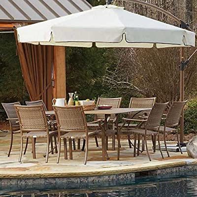 Panama Jack Outdoor 9-Piece Island Cove Slatted Dining Group Set - vExtruded Aluminum Frame that will not rust with viro fiber weave Sturdy aluminum legs for extra support Weather and UV resistant - patio-furniture, dining-sets-patio-funiture, patio - 617CKV4V4JL. SS400  -