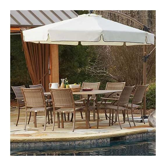 Panama Jack Outdoor 9-Piece Island Cove Slatted Dining Group Set - vExtruded Aluminum Frame that will not rust with viro fiber weave Sturdy aluminum legs for extra support Weather and UV resistant - patio-furniture, dining-sets-patio-funiture, patio - 617CKV4V4JL. SS570  -