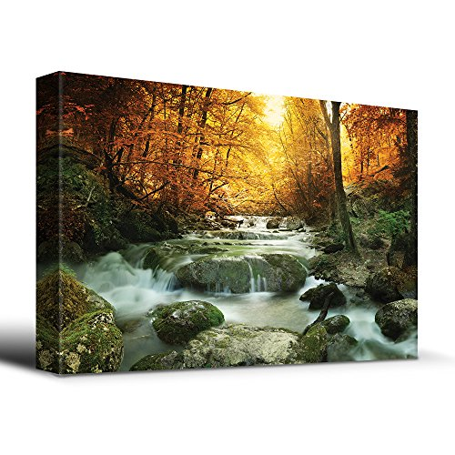 Autumn Waterfall - wall26 Wooded stream in Autumn - Canvas Art Home Decor - 32x48 inches